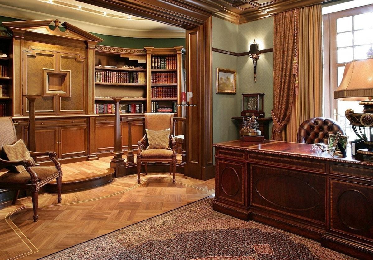 Классический дизайн кабинета в доме