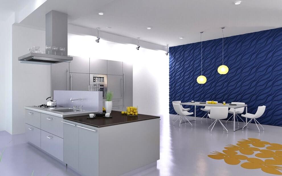 Дизайн кухни с 3 д панелями