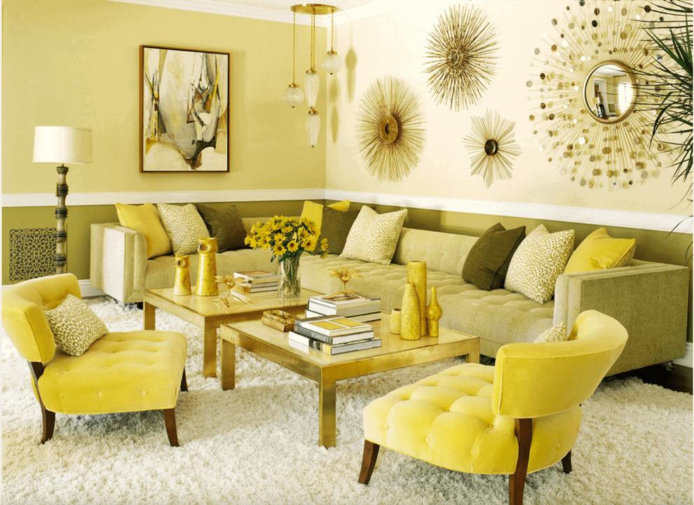 Желтые обои в интерьере гостиной и их комбинирование фото