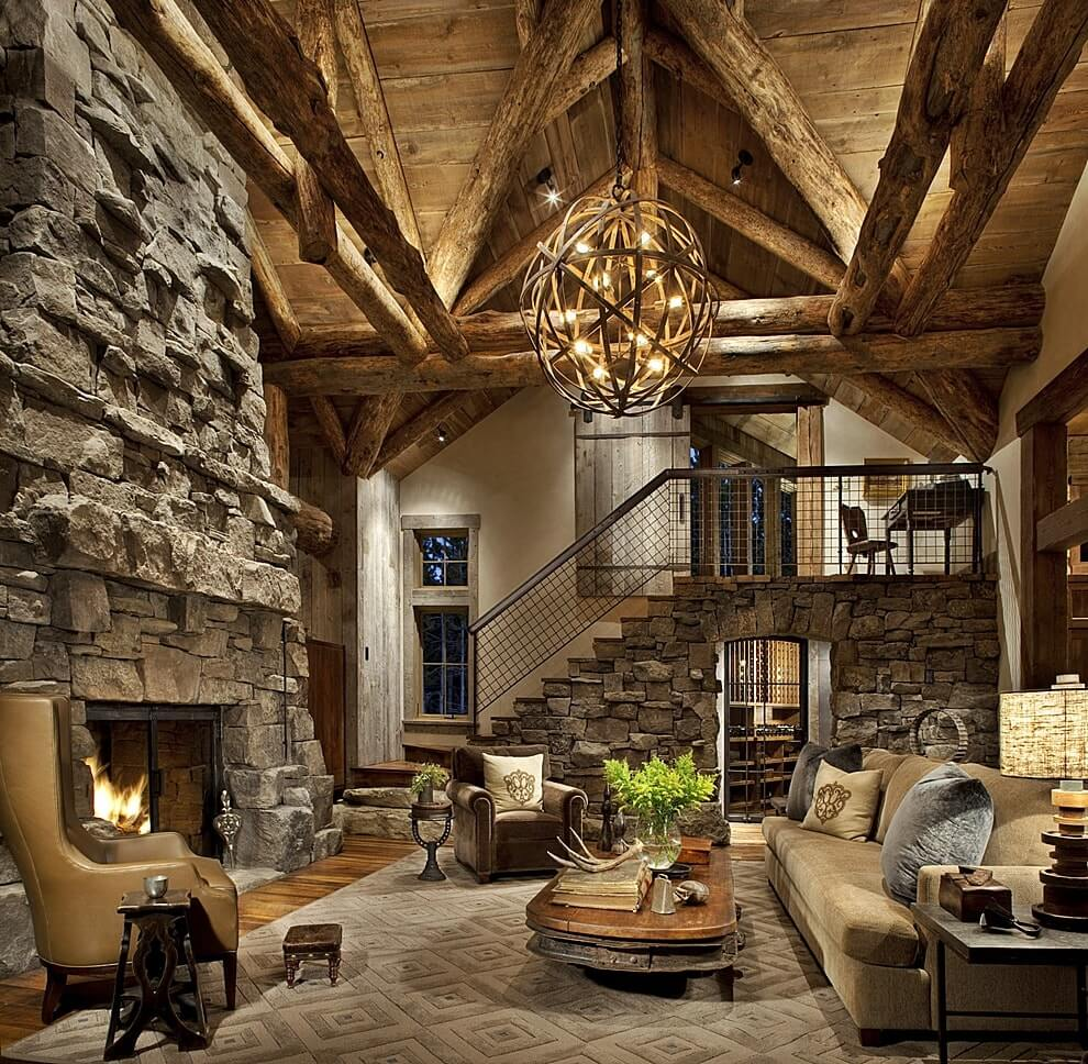 Дизайн гостиной под старину