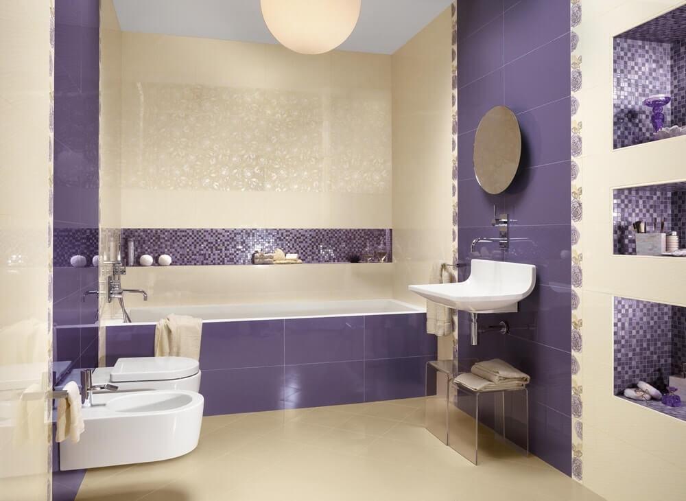 Фиолетовый интерьер ванной90