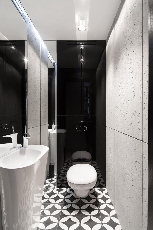 Дизайн в туалете в черном цвете