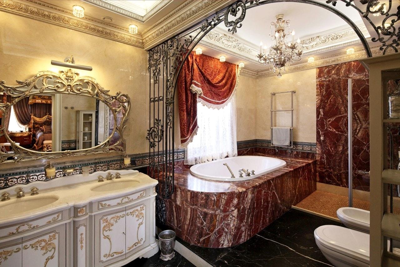 барокко в интерьере ванной комнаты