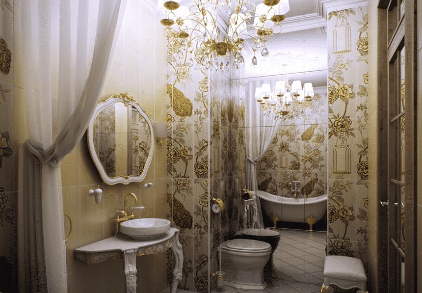 Стиль Рококо в интерьере ванной