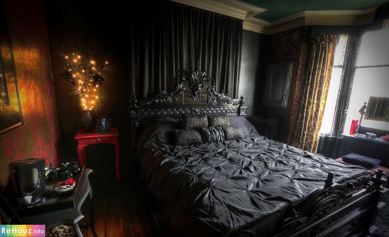 Готический стиль в интерьере спальной