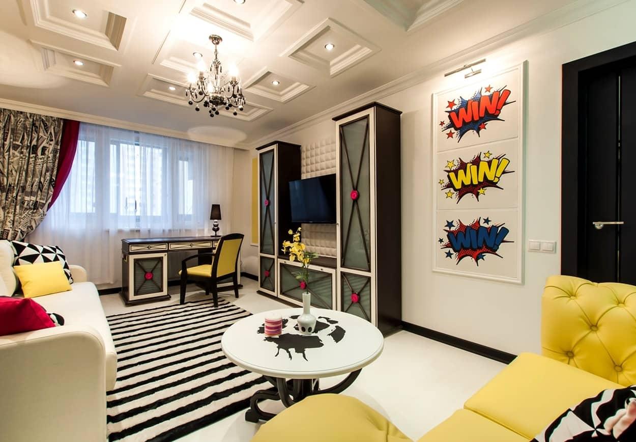 Поп-арт в интерьере гостиной