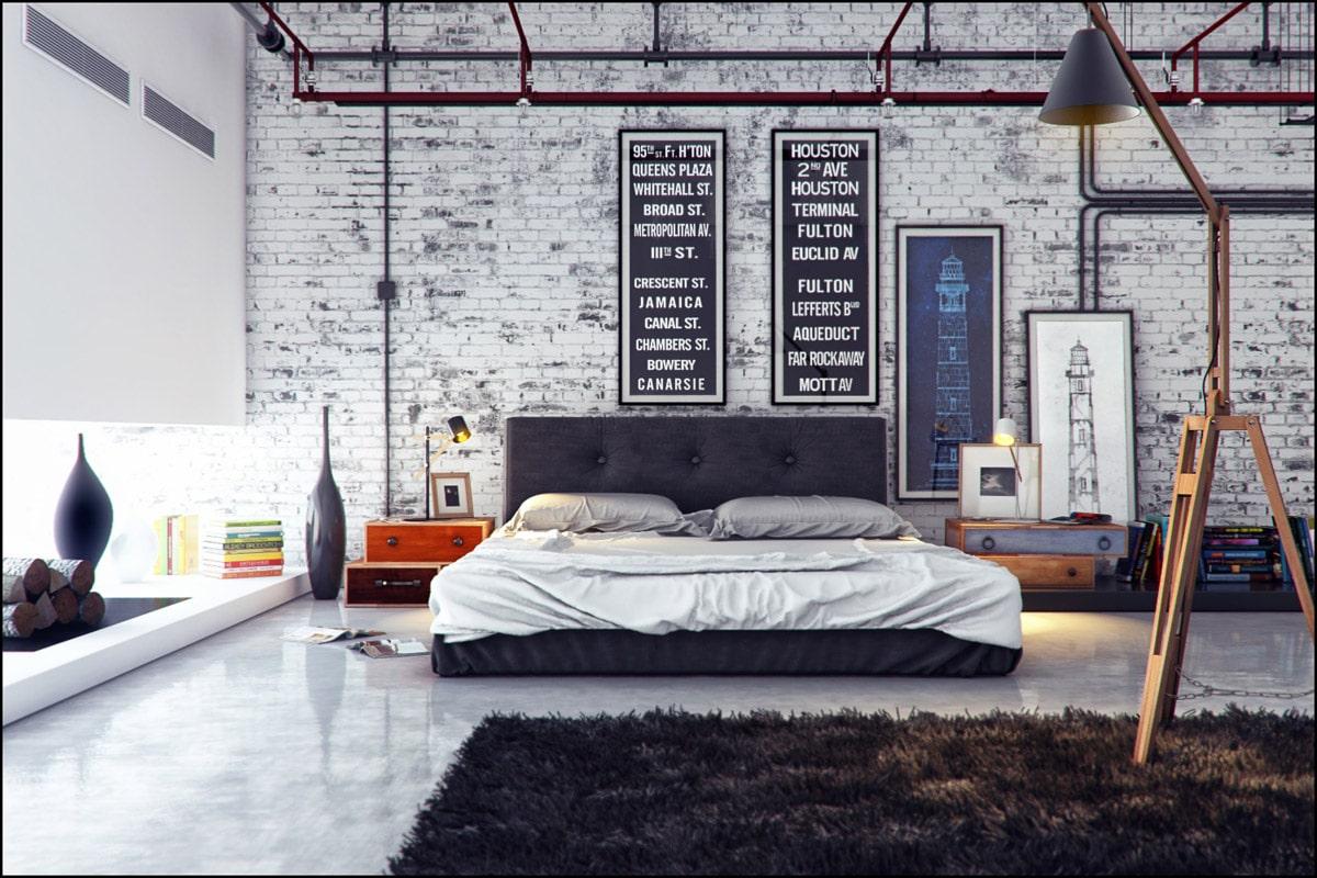 индустиальный стиль в спальной