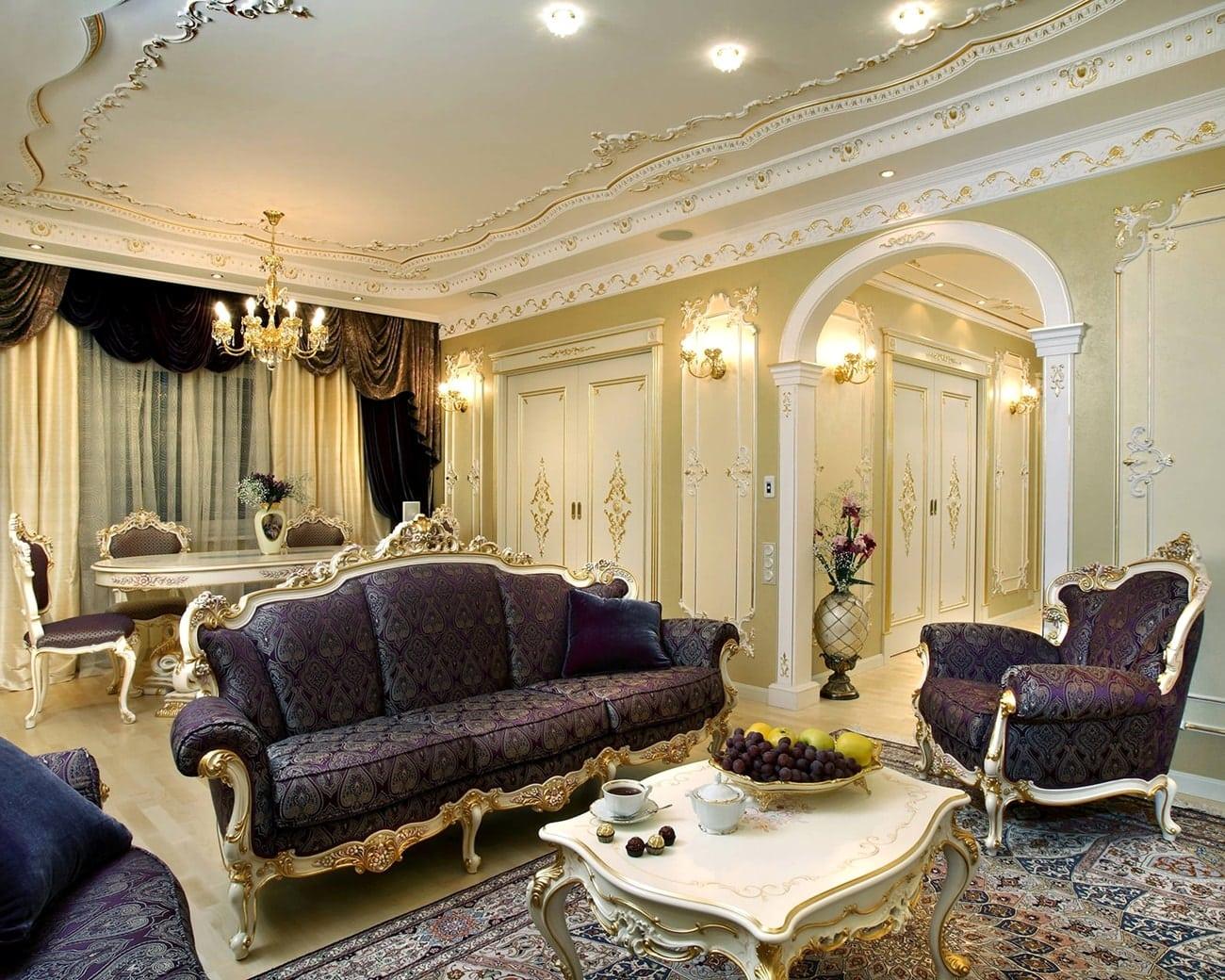 барокко в интерьере гостиной