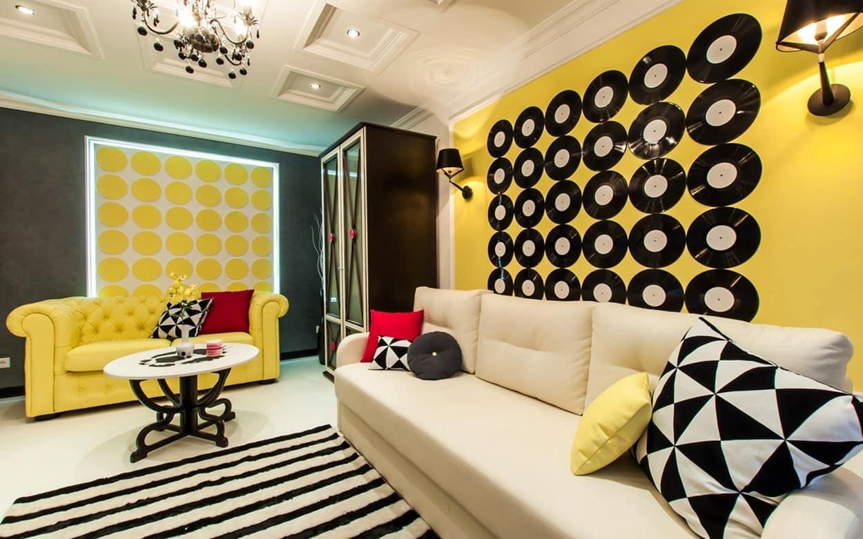 поп-арт в интерьере гостиной комнаты