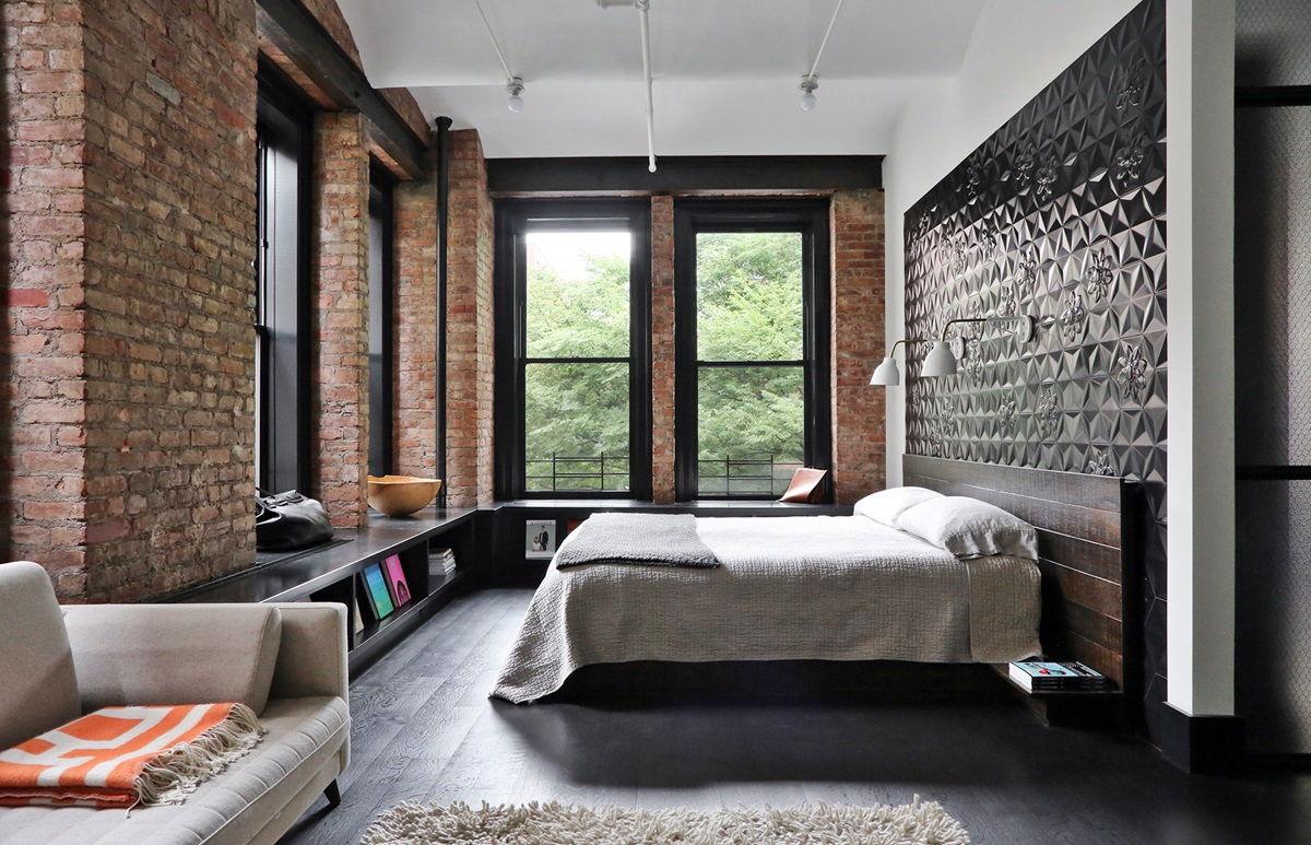 Дизайн интерьера спальни в стиле лофт - фото (6)