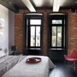 Дизайн интерьера спальни в стиле лофт - фото (8)