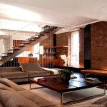 Интерьер гостиной в стиле лофт - фото (3)