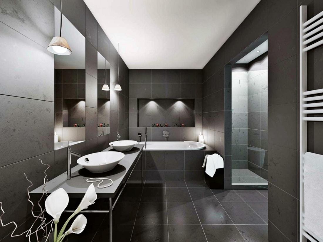 Минимализм в интерьере ванной фото