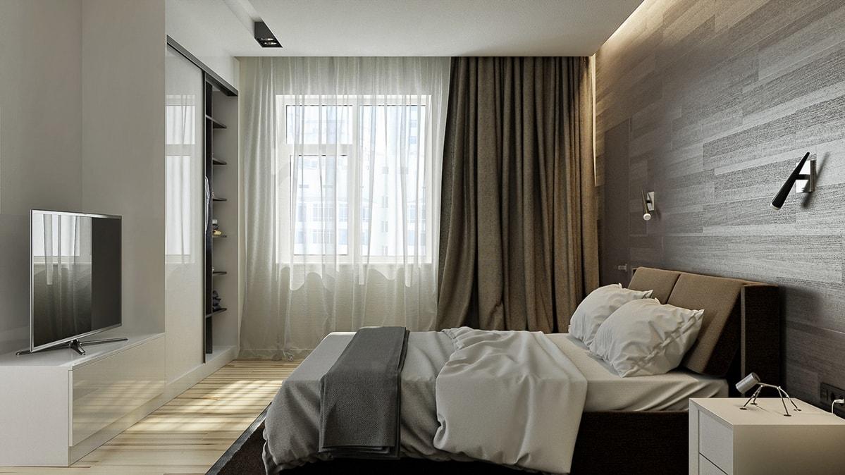Минимализм в интерьере спальной комнаты фото