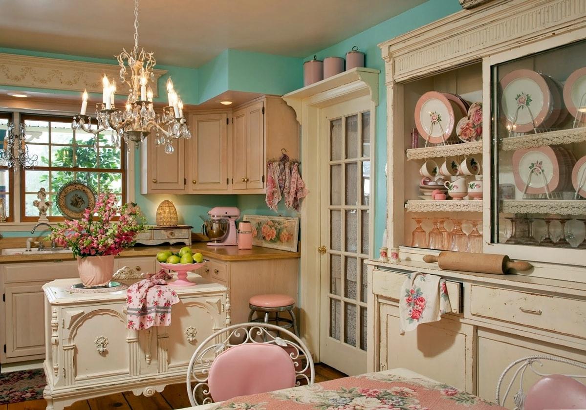 Шебби шик в интерьере кухни фото