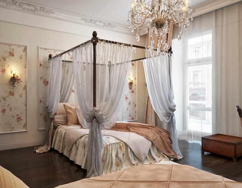 Стиль романтизм в интерьере спальни фото