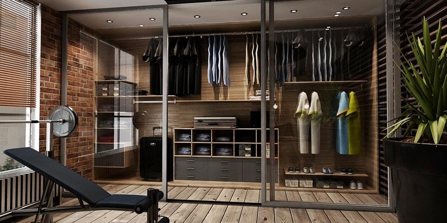 Стиль брутализм в интерьере гардероба