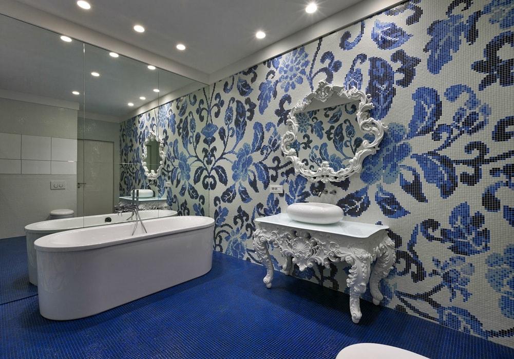 Гжель в интерьере ванной комнаты