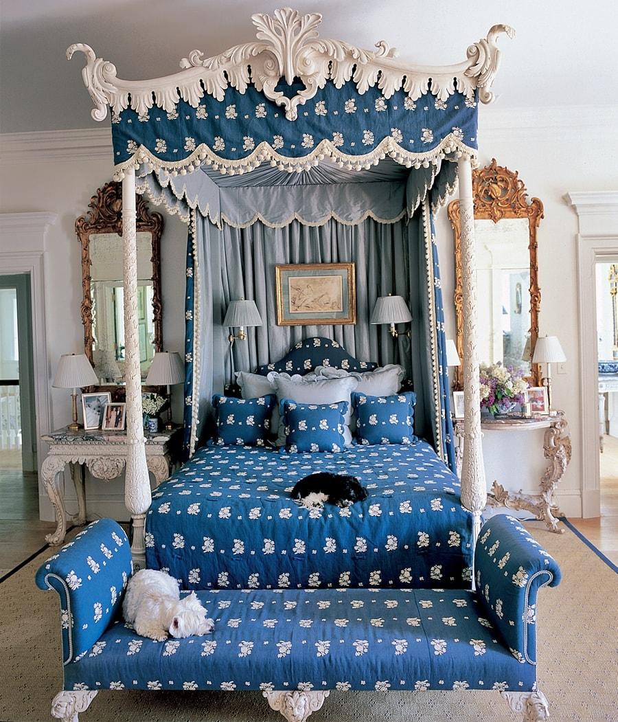 Стиль гжель в интерьере спальной комнаты