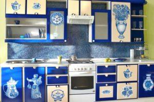 стиль гжель в интерьере кухни фото 1