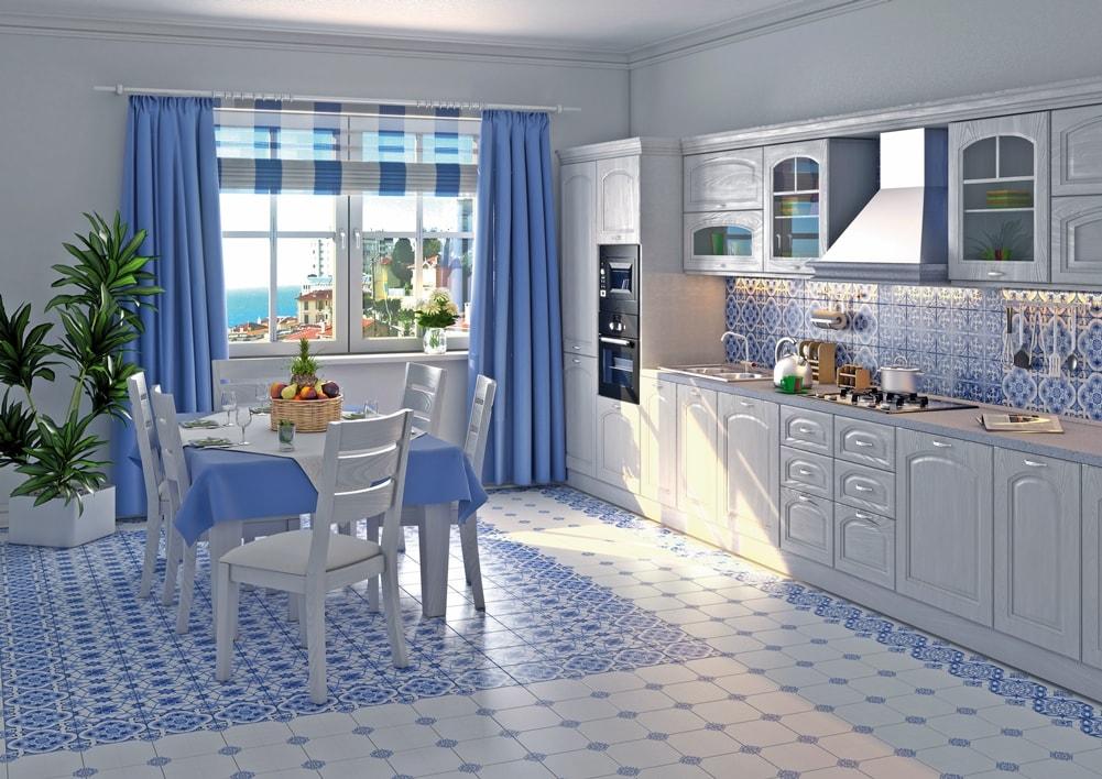 Стиль гжель в интерьере кухни