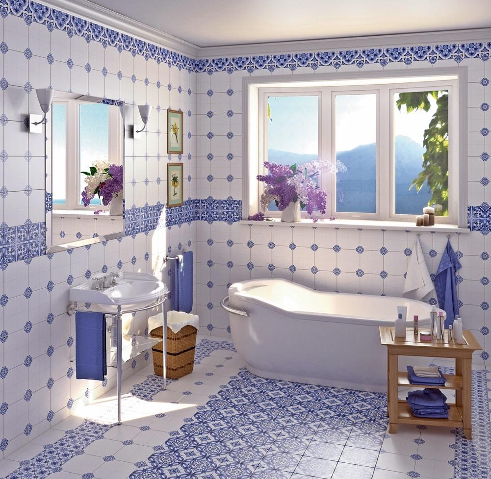 Стиль гжель в интерьере ванной