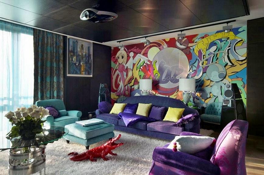 Стиль манга в интерьере гостиной комнаты