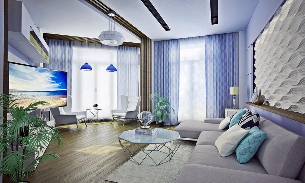 Стиль авангард в интерьере гостиной комнаты