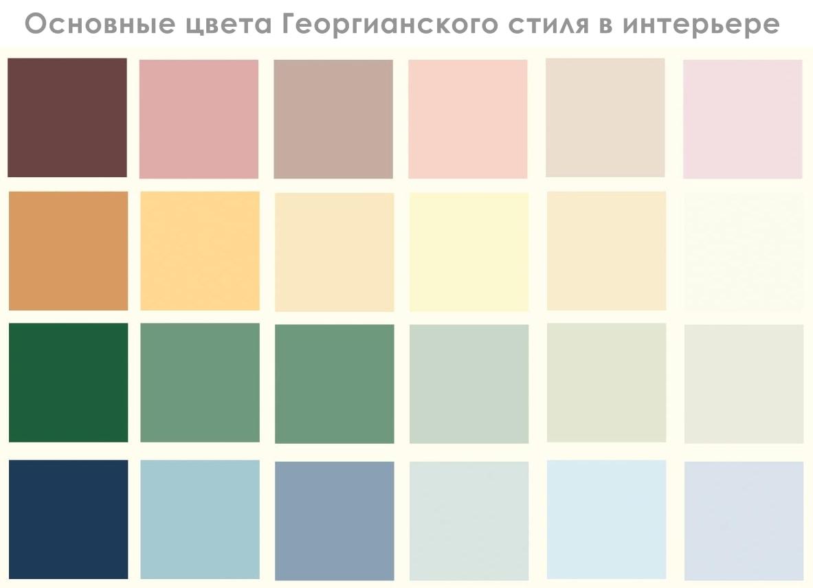 Георгианский стиль в интерьере - цвета
