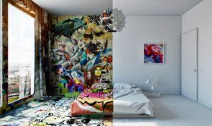 граффити в квартире в спальной фото