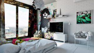 граффити в квартире в спальной