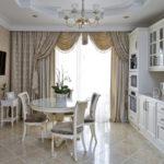 Стиль неоклассика в интерьере - кухня - шторы