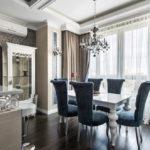 Стиль неоклассика в интерьере - столовая - шторы