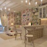 Кухня в стиле Шебби шик - потолок с лагами