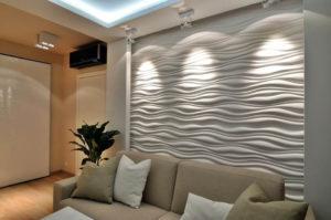 Гипсовые стеновые 3д панели в интерьере фото 2