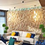 Стеновые 3д панели из натурального дерева в интерьере фото