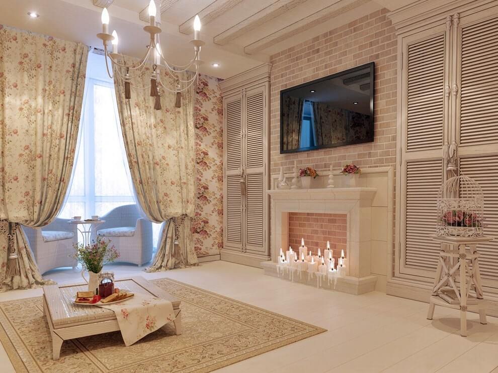 Дизайн камина в интерьере - стиль прованс