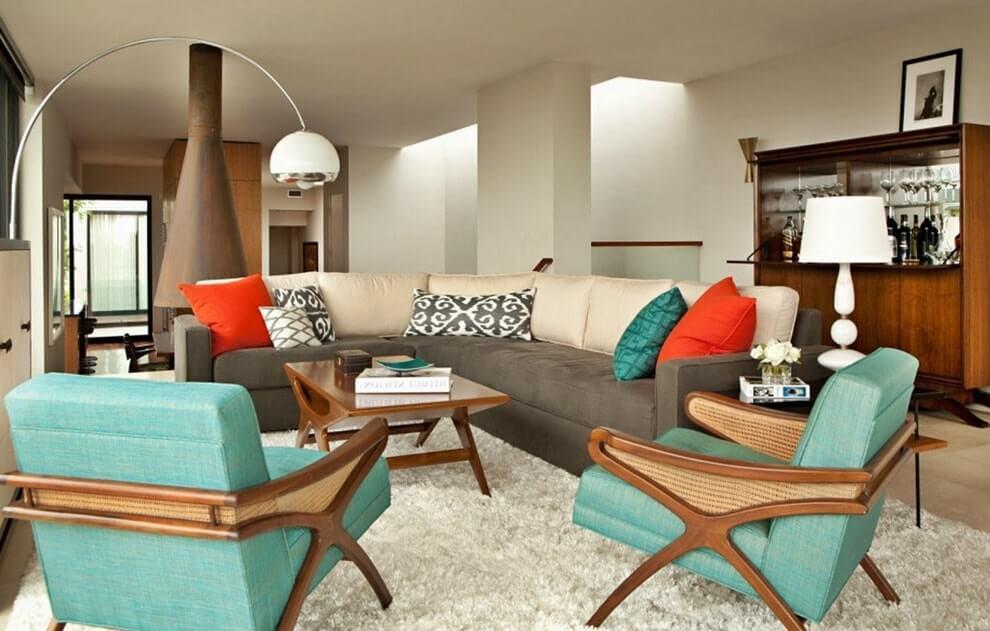 Современная интерпретация гостиной в стиле ретро 50-х