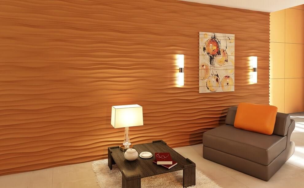 Стеновые 3д панели в интерьере фото