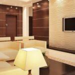 3д панели в интерьере современной гостиной комнаты