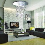 Дизайн гостиной комнаты с рельефными панелями