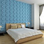Дизайн спальной комнаты с применением 3д панелей фото