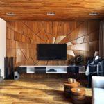 Деревянные 3д панели в интерьере гостиной