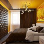 Стильная спальня с применением 3д панелей