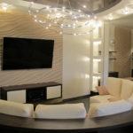 Гипсовые 3д панели в интерьере гостиной комнаты