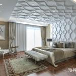 Стильная спальня с применением 3д панелей фото