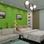 Стильная спальня с применением 3D панелей фото