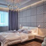 Гипсовые 3д панели в интерьере спальни