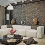 Дизайн небольшой гостиной комнаты с применением 3д панелей