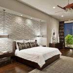 Гипсовые 3д панели в интерьере спальной